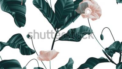 Väggdekor Seamless mönster, bruna vallmoblommor med gröna blad på vit bakgrund