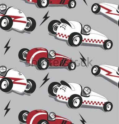 Väggdekor Seamless mönster, grafik för t-skjorta för tappning för tävlingsbilar typografisk isolerad på grå bakgrund för vektorillustration.