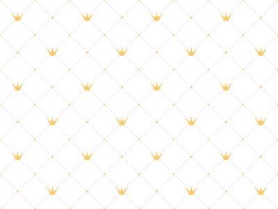 Väggdekor Seamless mönster i retrostil med en guldkrona och rosa polka prickar på vit bakgrund. Gullig tapeter för små prinsessor.