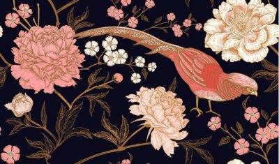 Väggdekor Seamless mönster med exotiska fågelfasaner och pionblommor.