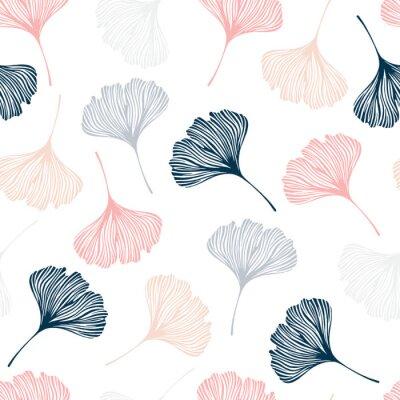 Väggdekor Seamless mönster med ginkgo löv.