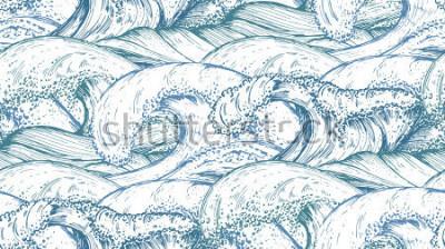 Väggdekor Seamless mönster med handgjorda havsvågor i skissstil. Vektor oändlig bakgrund i blå färger.