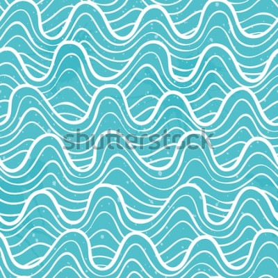 Väggdekor Seamless mönster med havsvågor i en dekorativ stil. Vektorillustration.
