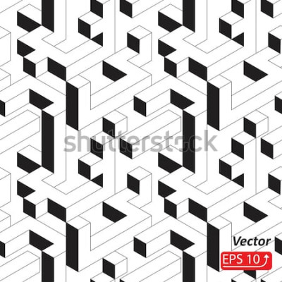 Väggdekor Seamless mönster med hus, byggnader, stad, stad i isometrisk stil. Svartvit abstrakt 3D-vektorvektorillustration