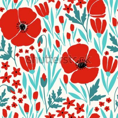 Väggdekor Seamless mönster med röda vallmoblommor
