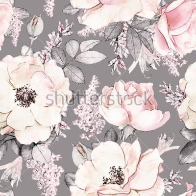 Väggdekor Seamless mönster med rosa blommor och löv på grå bakgrund, akvarell blommönster, blomma ros i pastellfärg, plattformig för tapeter, kort eller tyget