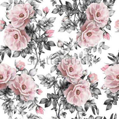 Väggdekor Seamless mönster med rosa blommor och löv på vit bakgrund, akvarell blommönster, blomma ros i pastellfärg, sömlösa blommönster för tapeter, kort eller tyg