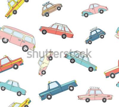 Väggdekor Seamless mönster med söta retro handritade bilar