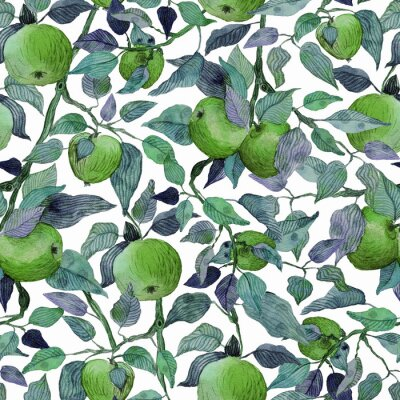 Väggdekor seamless pattern apple tree branch with green apples watercolor stylized illustration