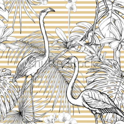 Väggdekor Seamless pattern, background. with tropical plants and flowers with white orchid and tropical birds. Graphic drawing, engraving style. vector illustration. Black and white on beige and white stripes.