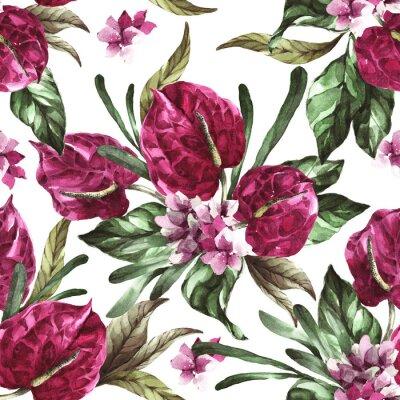 Väggdekor seamless pattern burgundy flowers