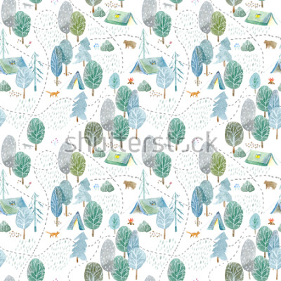 Väggdekor Seamless pattern of a camping,road,fox,wolf,bear in the woods.Tent, trees, bonfire, plants and floral.Landscape tourism.Watercolor hand drawn illustration.White background.