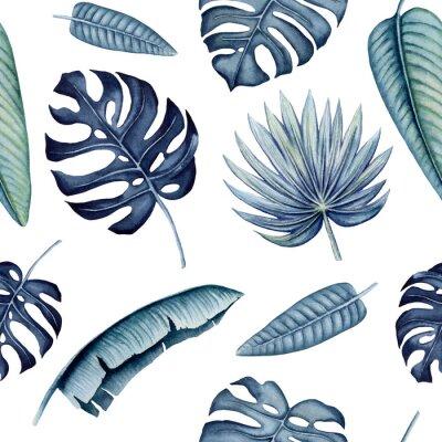 Väggdekor Seamless Pattern of Watercolor Tropical Leaves