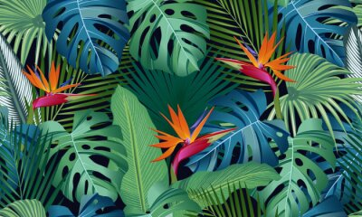 Väggdekor Seamless pattern tropical leaves with bird of paradise on black background