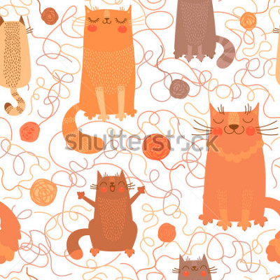 Väggdekor Seamless pattern with cute cats and balls of yarn. Vector illustration.