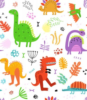 Väggdekor Seamless pattern with dinosaurs and flowers
