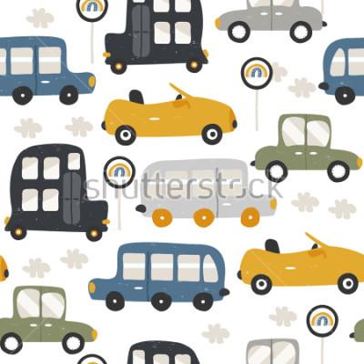 Väggdekor Seamless pattern with funny cars. Fashion kids print. Vector hand drawn illustration.