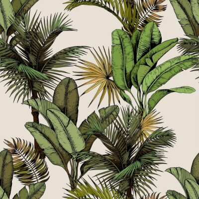 Väggdekor Seamless pattern with green tropical palm and banana leaves. Hand drawn vector illustration on beige background.