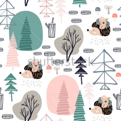 Väggdekor Seamless pattern with hedgehog, forest elements. Creative woodland height detailed background. Perfect for kids apparel,fabric, textile, nursery decoration,wrapping paper.Vector Illustration