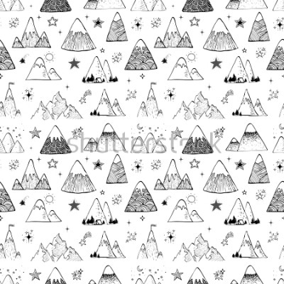 Väggdekor Seamless pattern with mountains and stars. Can be used for wallpaper, pattern fills, textile, web page background, surface textures