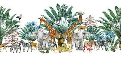 Väggdekor seamless pattern with safari animals and palm trees.Tropical vintage botanical island banner. Exotic jungle border.