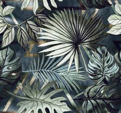 Väggdekor Seamless pattern with tropical leaves and  geometric shapes. Tropical  background.