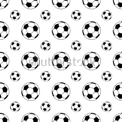 Väggdekor Seamless patterns from a soccer ball. Black and white. Vector illustration.