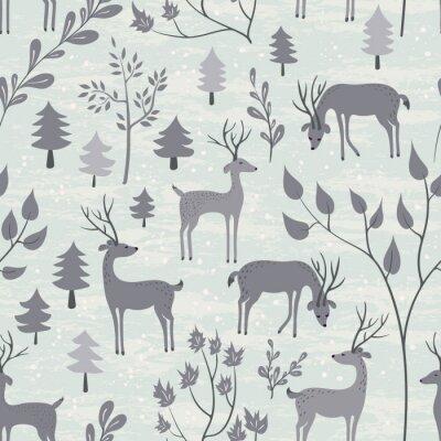 Väggdekor Seamless rådjur på vintern skog