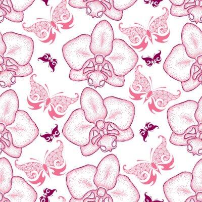 Väggdekor Seamless rosa prickad orkidé eller Phalaenopsis och utsmyckade fjärilar på vit bakgrund. Blommig bakgrund i dotwork stil.