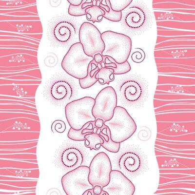 Väggdekor Seamless rosa prickad orkidé eller Phalaenopsis och virvlar runt på den vita bakgrunden. Blommig bakgrund i dotwork stil.
