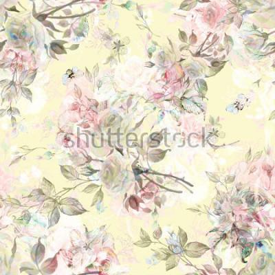Väggdekor Seamless rosemönster och humlebi RY