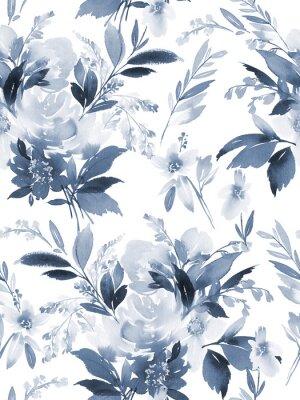 Väggdekor Seamless sommar mönster med vattenfärg blommor handgjorda.