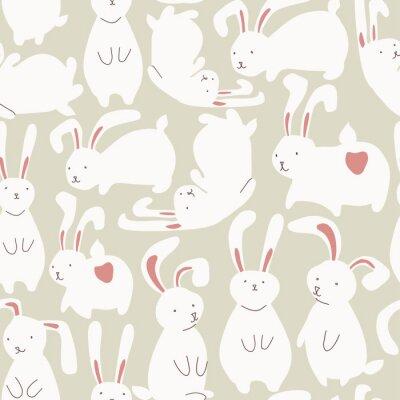 Väggdekor Seamless söta vita kaniner
