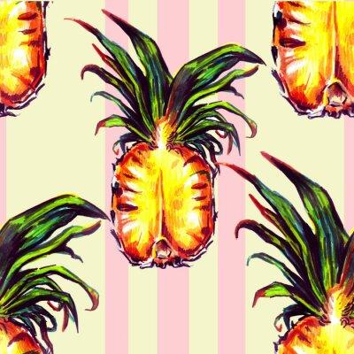 Väggdekor Seamless tropiska växter och frukt