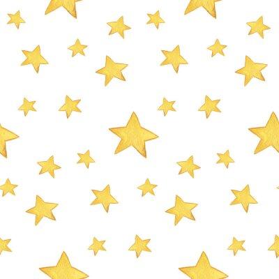Väggdekor Seamless vattenfärg mönster: God Jul, gula stjärnor