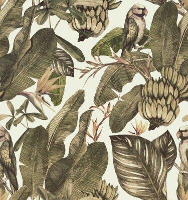 Väggdekor Seamless vattenfärg mönster med hibiskus, palmblad, gren av strelitzia, calathea.Tropic vintage bakgrund