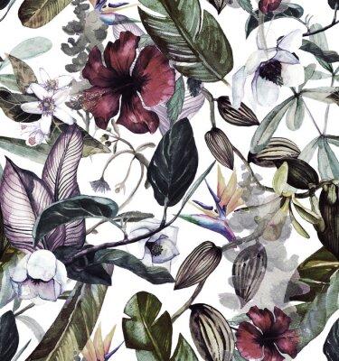 Väggdekor Seamless vattenfärg mönster med tropiska blommor, magnolia, orange blomma, vanilj orkidé, tropiska löv, bananblad