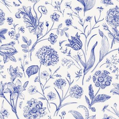 Väggdekor Seamless vector floral pattern. Classic illustration. Toile de Jouy