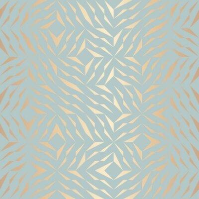 Väggdekor Seamless vektor geometrisk gyllene element mönster. Abstrakt bakgrund koppar textur på blå grön. Enkelt minimalistiskt grafiskt tryck. Modernt turkos trellis rutnät. Trendy hipster helig geometri