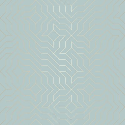 Väggdekor Seamless vektor geometriska gyllene linjemönster. Abstrakt bakgrund koppar textur på blå grön. Enkelt minimalistiskt grafiskt tryck. Modernt turkos trellis rutnät. Trendy hipster helig geometri