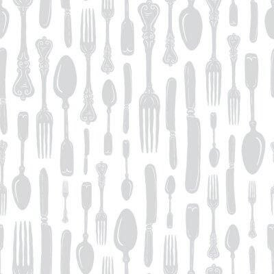 Väggdekor Seamless Vintage Heirloom Silverware - Fork, Spoon, Knife - Vector Repeat Pattern in Subtle Gray on Light Background