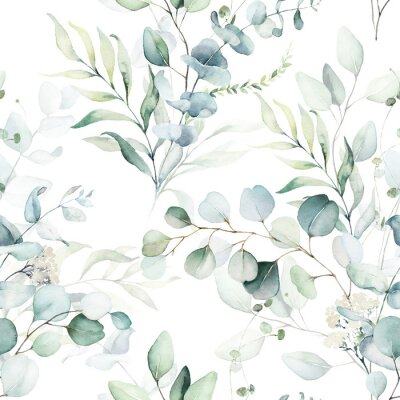 Väggdekor Seamless watercolor floral pattern - green leaves and branches composition on white background, perfect for wrappers, wallpapers, postcards, greeting cards, wedding invitations, romantic events.