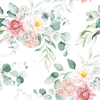 Väggdekor Seamless watercolor floral pattern with pink & peach cream flowers, leaves composition on white background, perfect for wrappers, wallpapers, postcards, greeting cards, wedding invitations, events.