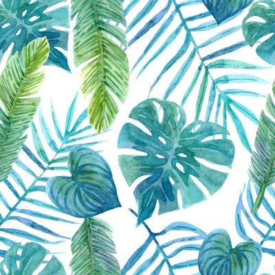 Väggdekor Seamless watercolor pattern of tropical leaves