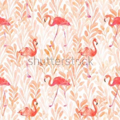 Väggdekor Seamless watercolor pattern with a bird flamingo. Beautiful pink bird. Tropical flamingo.