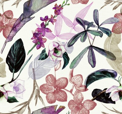 Väggdekor Seamless watercolor pattern with tropical flowers, magnolia, orange flower, vanilla orchid, tropical leaves, banana leaves