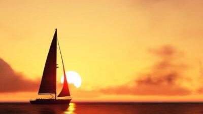 Väggdekor segelbåt och solnedgång
