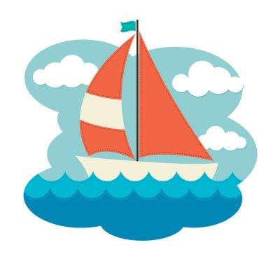 Väggdekor Segelbåt on Waves