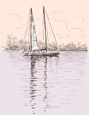Väggdekor segelbåt på en strand
