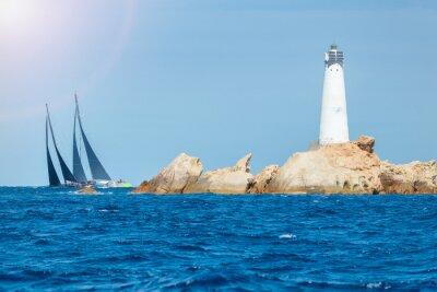 Väggdekor segling på Sardinien, Monaci fyr, Italien
